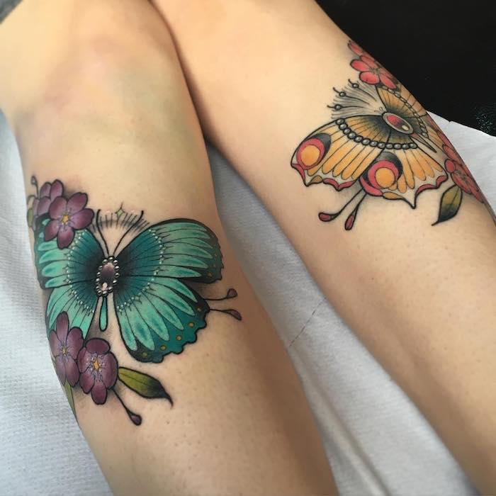 tatouage symbolique, idée dessin sur peau en couleur, tatouage sur les jambes à motifs papillons