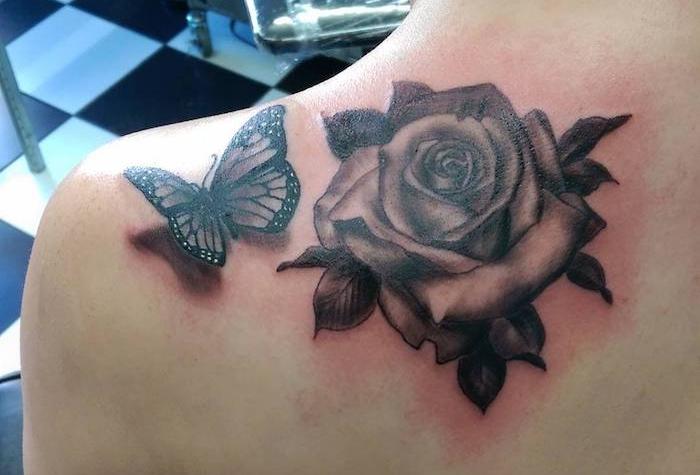 tatouage papillon 3d, dessin sur la peau à motif rose et papillon, art corporel à motifs nature