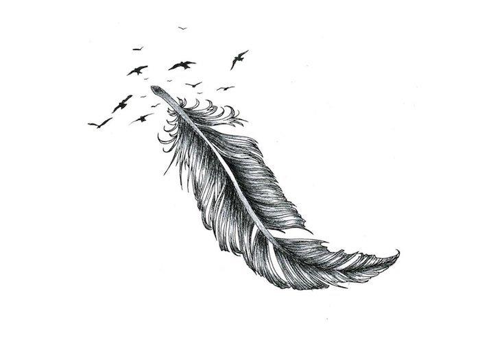 tatouage plume, dessin de plume et des oiseaux volant en crayon noir, idée design tatouage unique