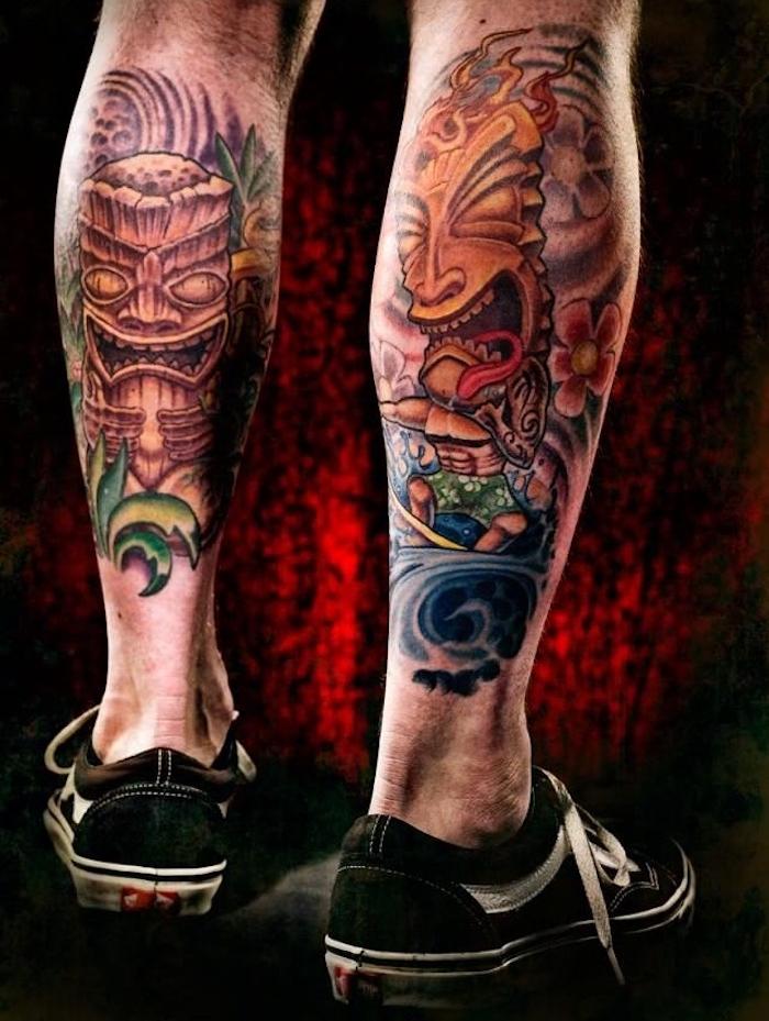 jambe homme tatouage tribal mollet indien masque couleurs
