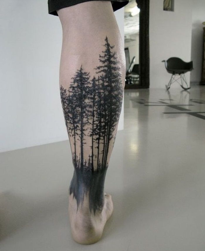 tatouage mollet cheville homme foret tattoo arbres jambe