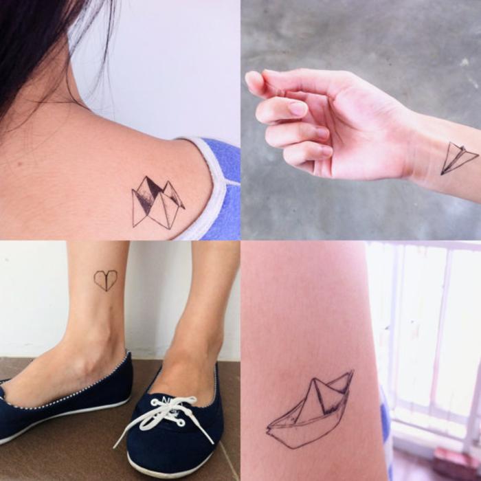 les motifs les plus connus dans l'art origami en tatouage minimaliste, idées pour un emplacement discret du tatouage