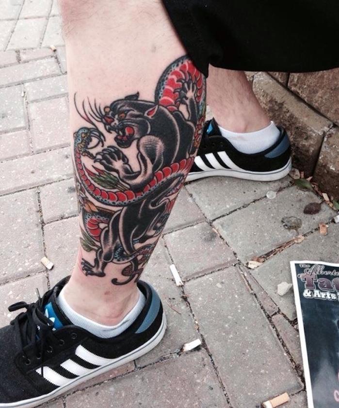 tatouage mollet homme old school modele tattoo jambe vintage symbole japon