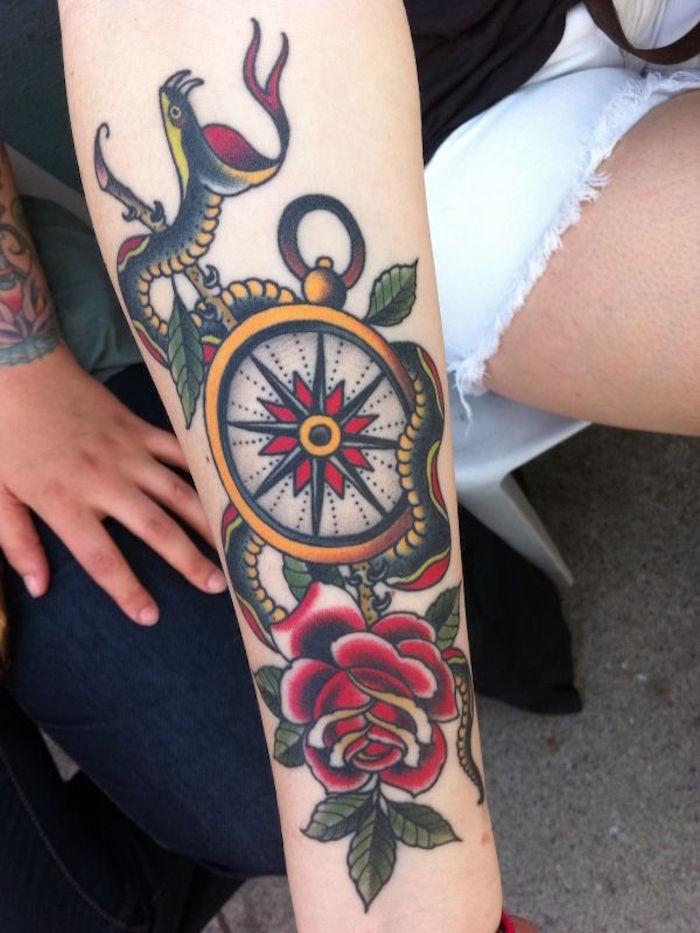 1001 Idees Tatouage Rose Des Vents Cap Sur Un Classique Du Genre