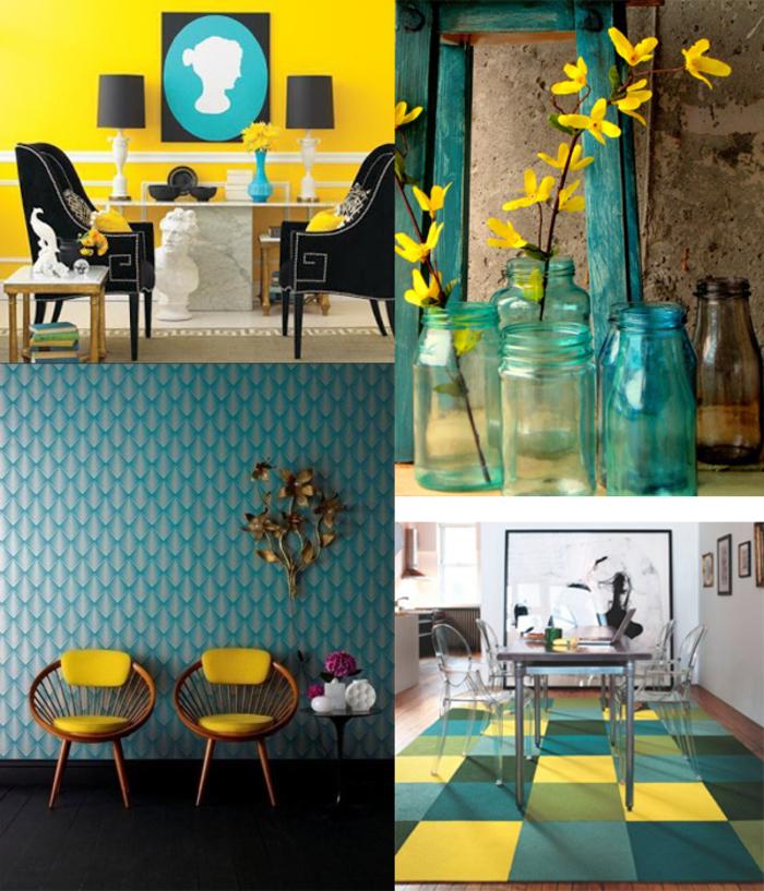 comment adopter la couleur canard pour un intérieur débordant d'énergie, déco jaune et bleu