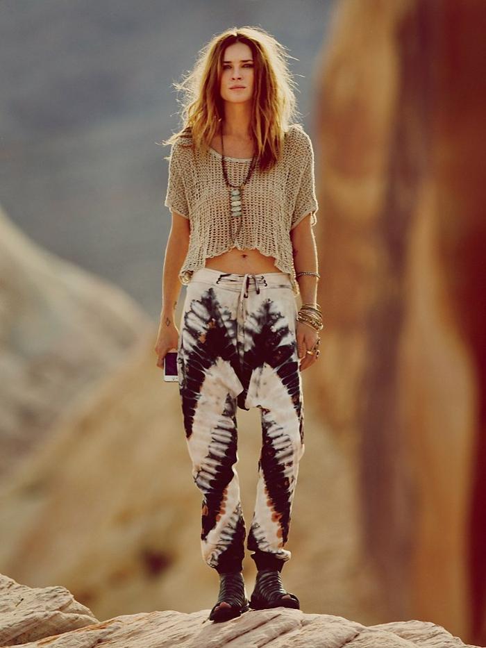 Jupe longue hippie ou robe boheme chic longue mode hippie pantalon coloré hippie belle idée tenue hippie chic