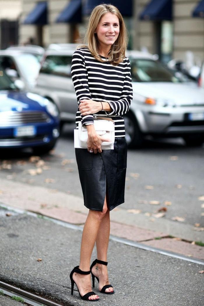 Comment m habiller aujourd hui tenue classe femme chic décontracté cuir jupe courte