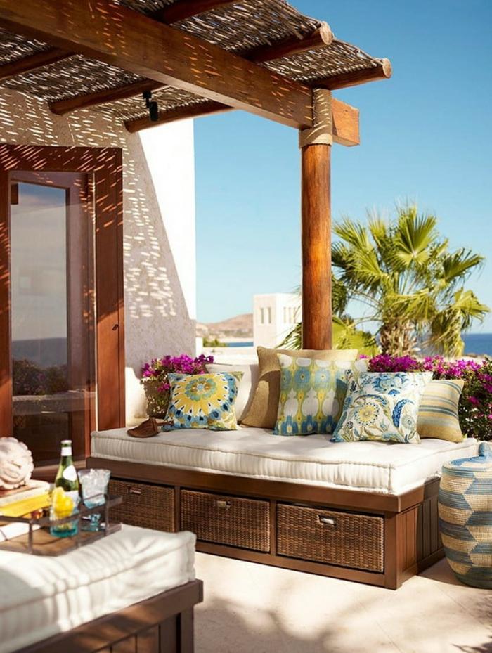terrasses couvertes avec des meubles en rotin et pergola beaux jeux d'ombres