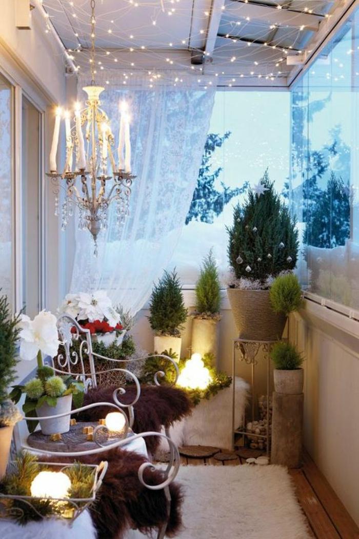 terrasse couverte avec déco de Noel ambiance magique et féerique
