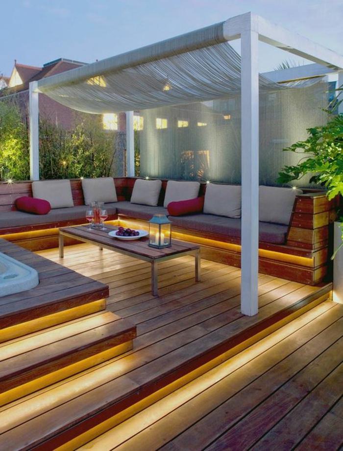 terrasse couverte patio blanc avec des voiles ambiance zen