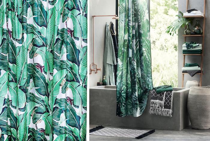 oasis tropical, salle de bain aux murs blancs, rideaux de bain à imprimés florales, grande fenêtre, sol gris