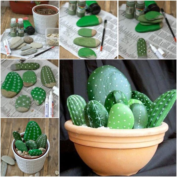 les étapes à suivre pour réaliser un cactus avec des galets décorés