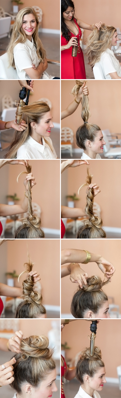 tuto chignon facile a réaliser, cheveux longs, une queue de cheval ondulée et transformée en chignon décoiffé