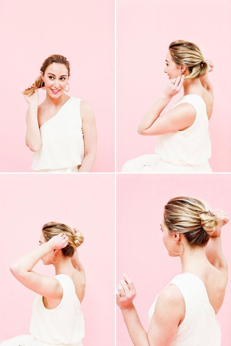 idée de chignon facile classique, tutoriel comment faire un chignon à partir d une queue de cheval, robe blanche femme