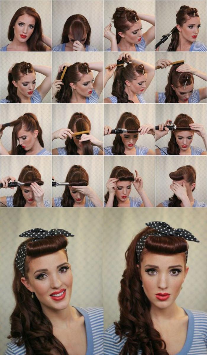un tuto coiffure rockabilly réalisée avec un fer à friser et un bandana