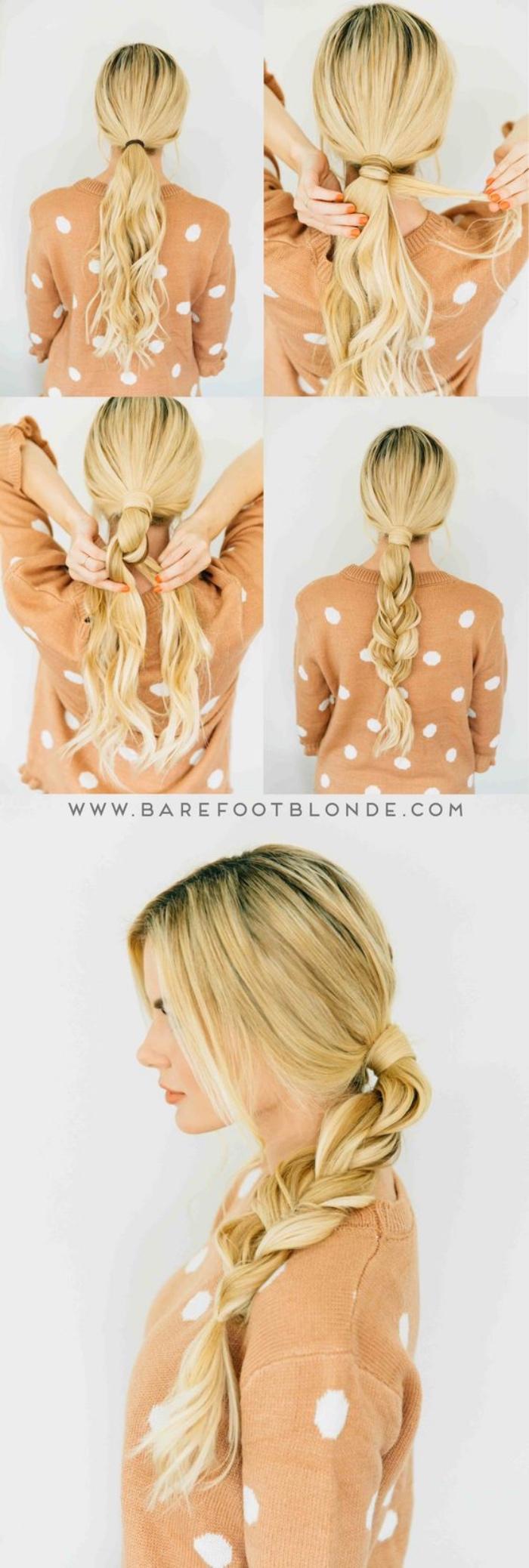tuto coiffure queue de cheval tressée, coiffure cheveux longs blond, technique tressage simple et rapide