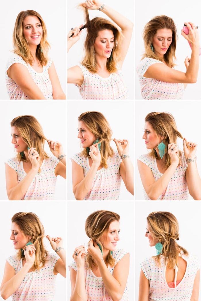 technique comment tresser les cheveux de devant. mèches en chaine ramenés en arrière, tuto coiffure rapide diy étape par étape