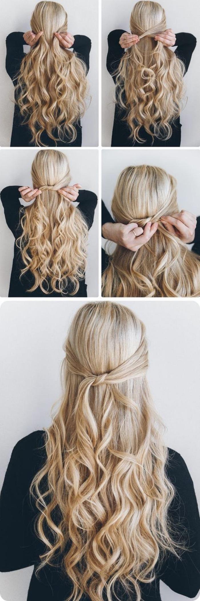 idée coiffure femme simple, des mèches de devant croisées derrière, cheveux longs bouclés, coiffure a faire en quelques minutes