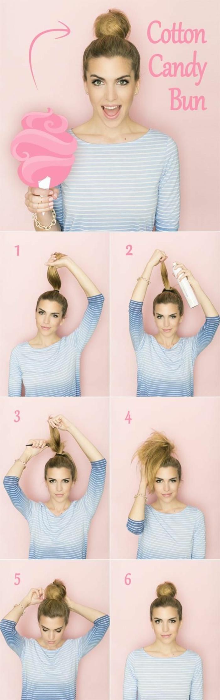 idée comment faire un chignon facile à partir de cheveux crêpés en queue de cheval, coiffure féminine élégante
