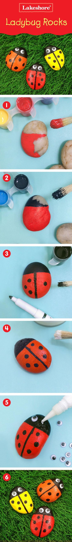 comment peindre des coccinelles sur galets décoratifs, un bricolage enfant amusant et facile