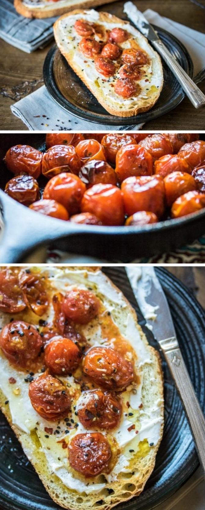 idée de recette de tapas, exemple recette facile et rapide, pain tartiné de mascarpone avec des tomates cerise rôtis au four et épices