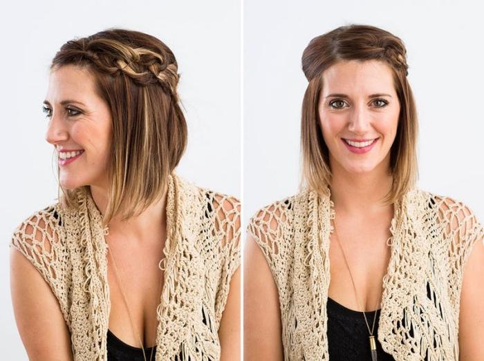 cheveux tressés en chaîne, idée de coiffure facile a faire, mèche de devant tressée et ramené en arrière, carré plongeant cout