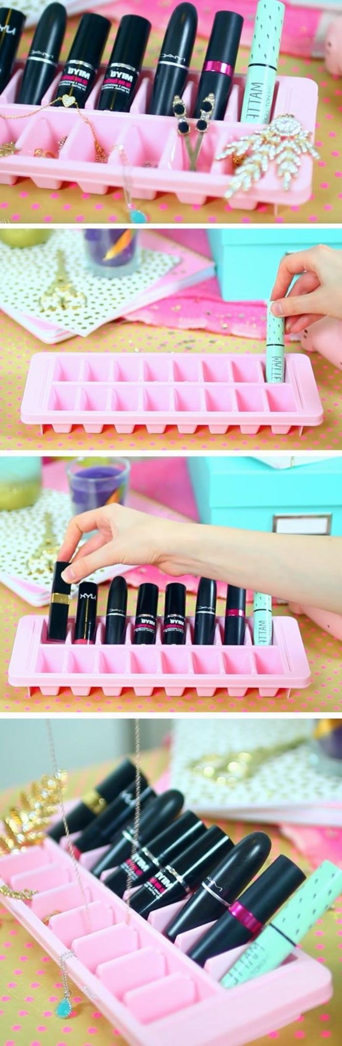 rangement maquillage rouge a levre dans une moule à glaçons, idée organisateur makeup astucieux