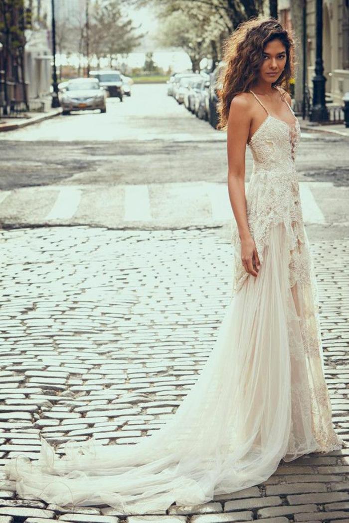 Choisir la plus belle robe mariée boheme dentelle robe mariée manche longue vintage