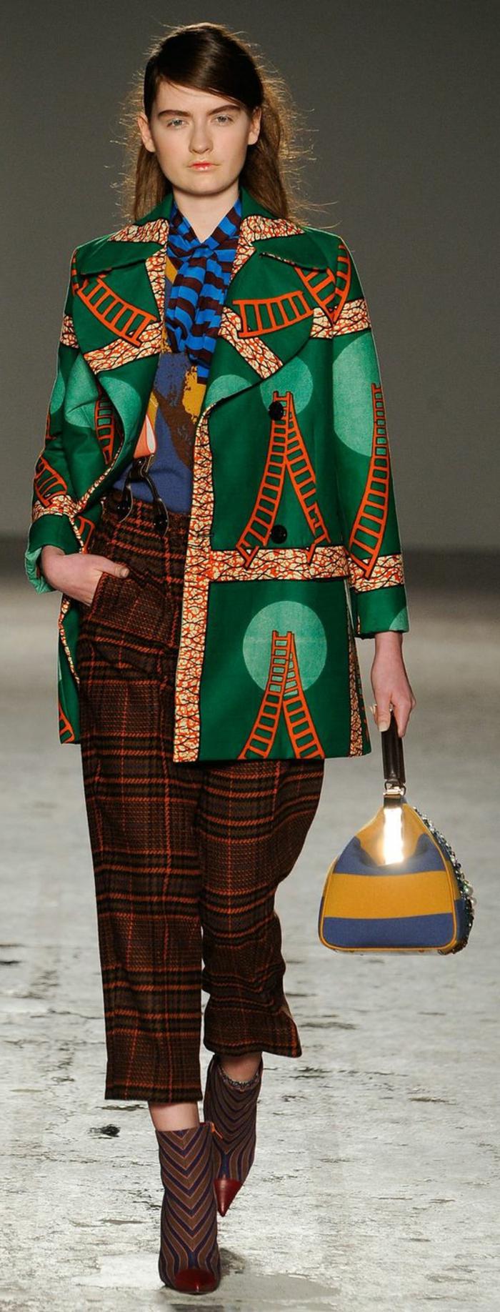 vêtements femme originaux, pantalons à carrés, manteau de printemps wax