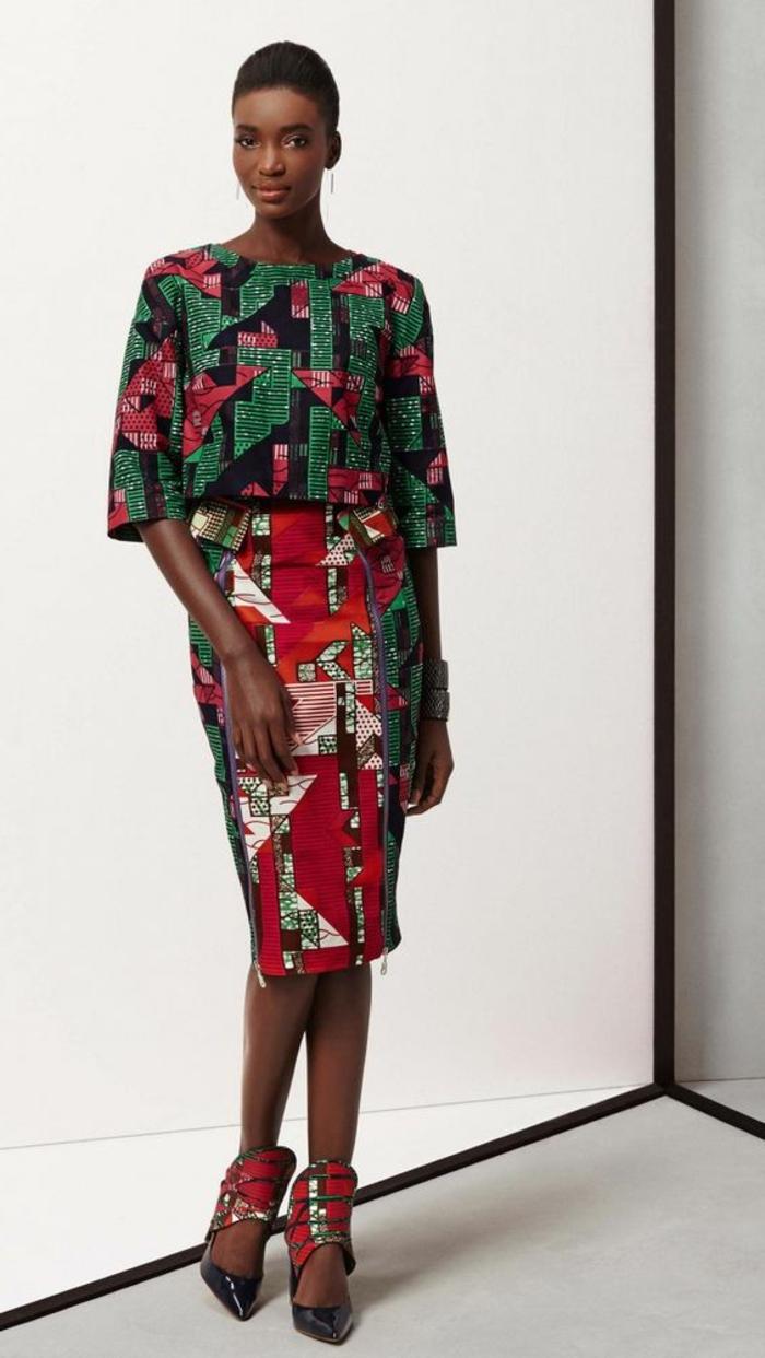 vêtements femme originaux, jupe crayon, vêtements en tissu wax, joli ensemble