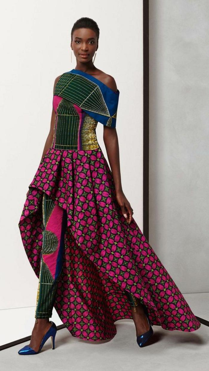vêtements femme originaux, tenue en vert et lilas tissu wax, pantalon wax patterns africains
