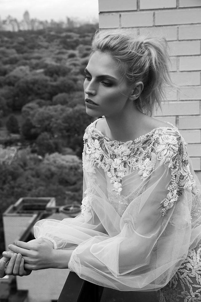 Eclatante robe de mariée couleur robe de marié sirene simple beauté robe avec manches