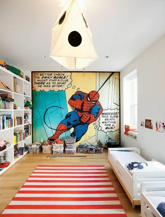 lit ado super hero Spider man avec luminaire en carton style lanterne chinoise