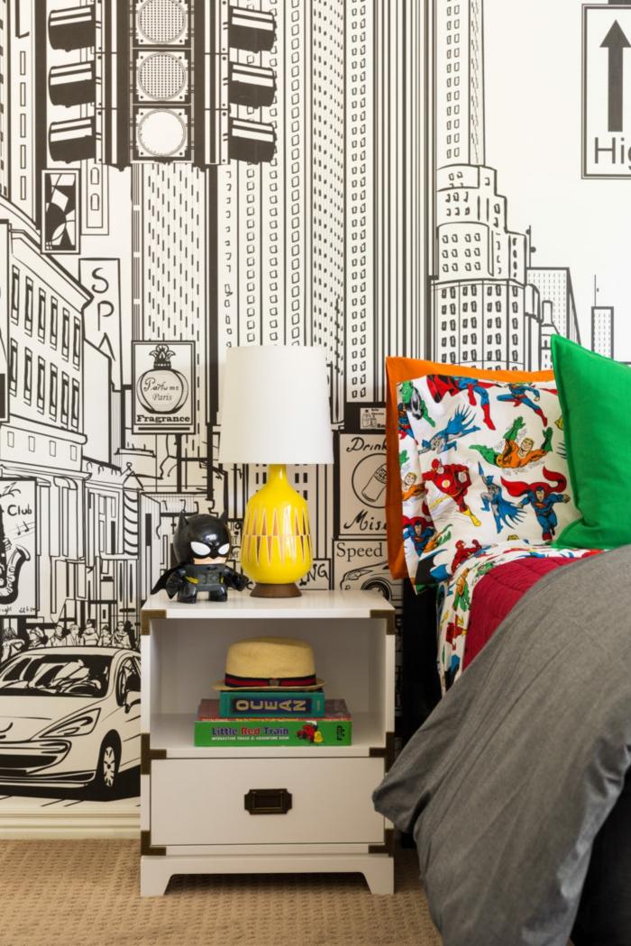 chambre ado lit ado linge lit aux motifs de super heros murs sticker mural grande ville