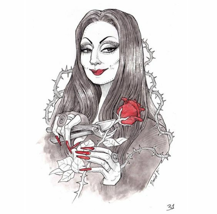 Morticia Addams fleurs rose de morticia cool dessin rose rouge comme les lèvres