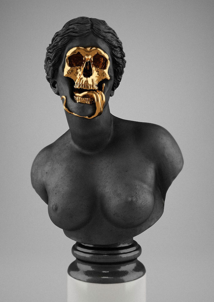 oeuvre moderne sculpture expérimentale The God Of The Grove Hedi Xandt buste noir or