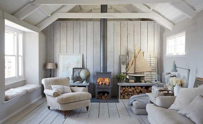 meubles style scandinave pour salon de chalet en bois design nordique
