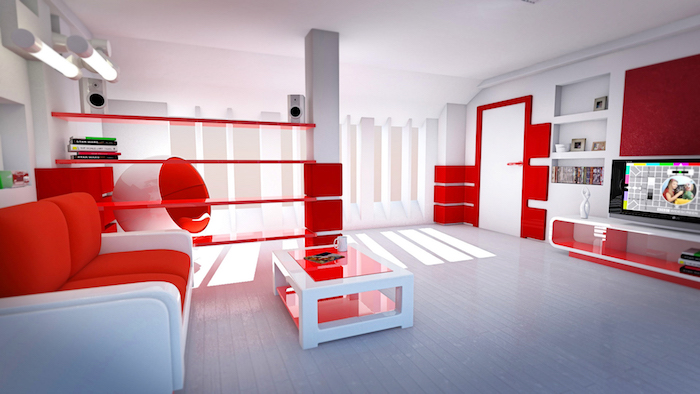 idée de déco salon en blanc et rouge vermillon, canapé et table basse blanc et rouge, parquet blanc, fauteuil design original