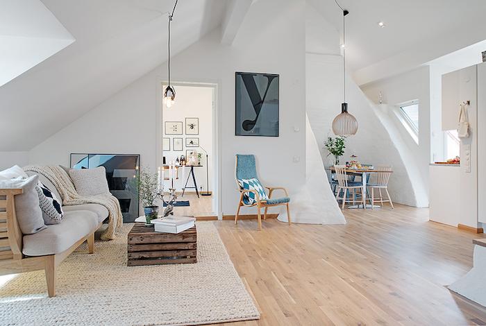 salon style scandinave mansardé déco nordique épurée