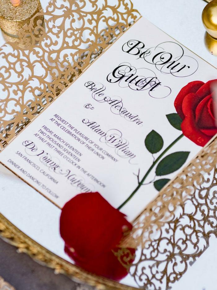 Inspiration faire part mariage la belle et la bete cool idée de disney mariage thematique