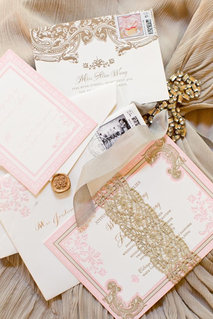 Carte invitation disney faire part mariage conte de fée idées cool en rose et blanc