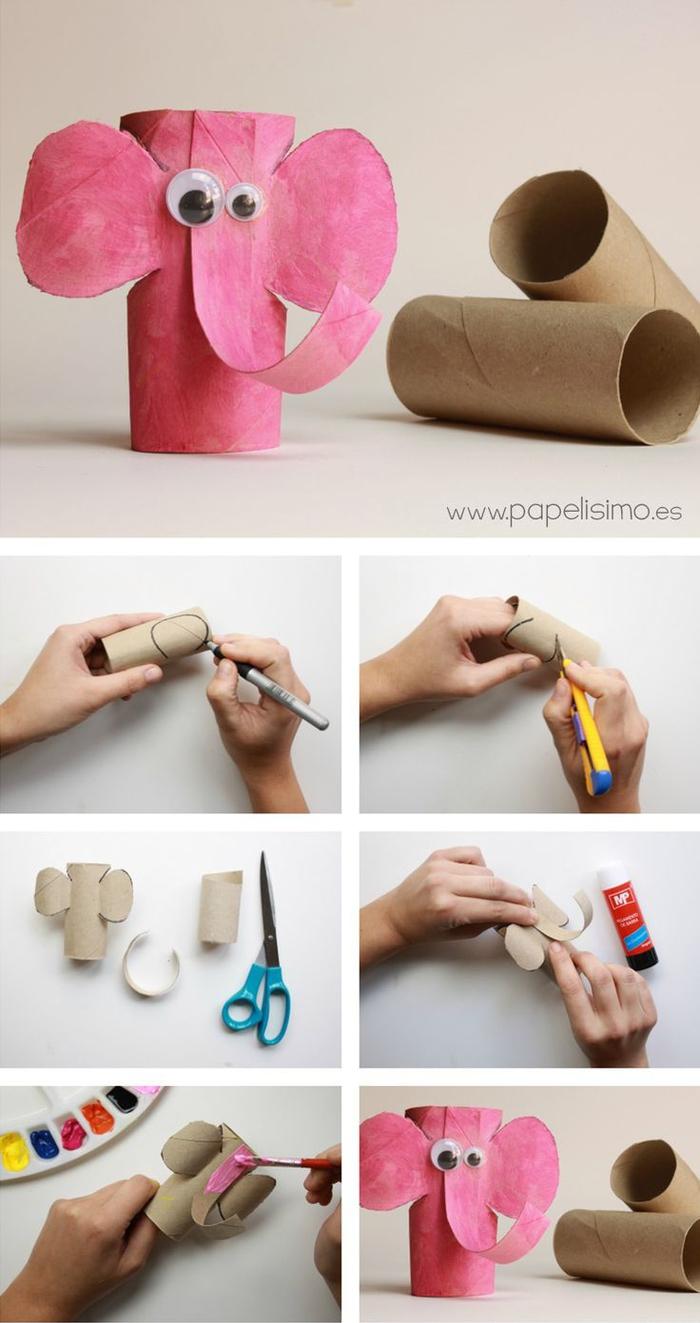dée pour un bricolage en papier maternelle, un éléphanteau réalisé à partir de tubes en ccarton