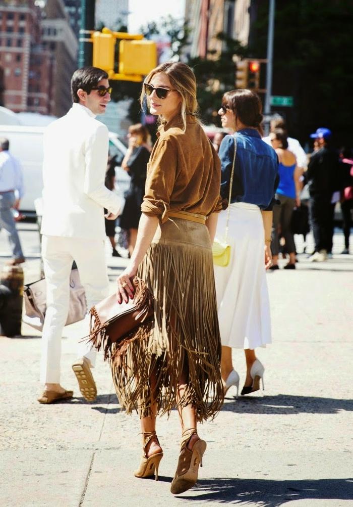 Appearance feminine robe saharienne boutonnée robe col mao jupe à franges Olivia Palermo
