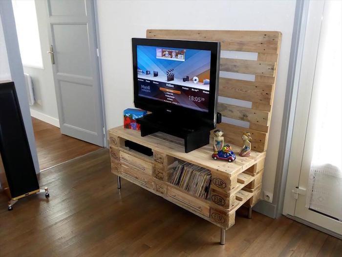 1001 id es meuble tv palette le recyclage en cha ne for Armoire pour salon