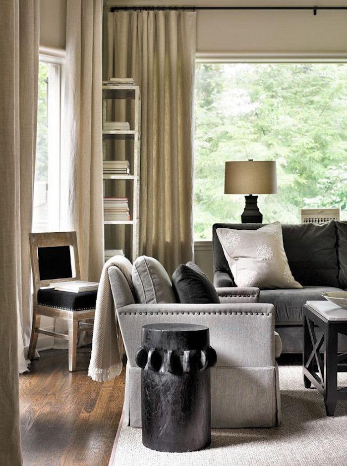 exemple salon couleur taupe gris et lin idée de décoration séjour