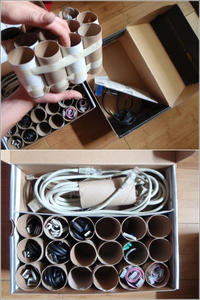 une astuce de rangement pour faire de l'ordre dans vos câbles, boîte de rangement en rouleau papier toilette récupéré