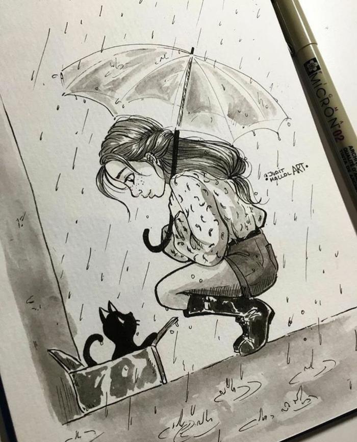 Idee dessin jeune fille dessin fille swag image de dessin d'une fille parapluie et chaton