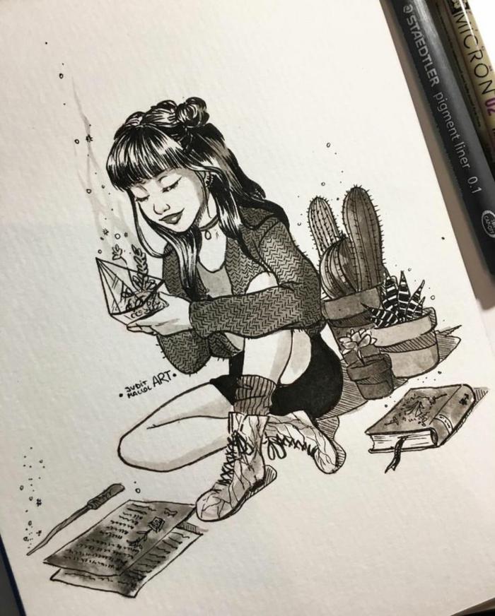 Image de fille dessin d une fille dessin animé pour fille beauté cactus adorable dessin art
