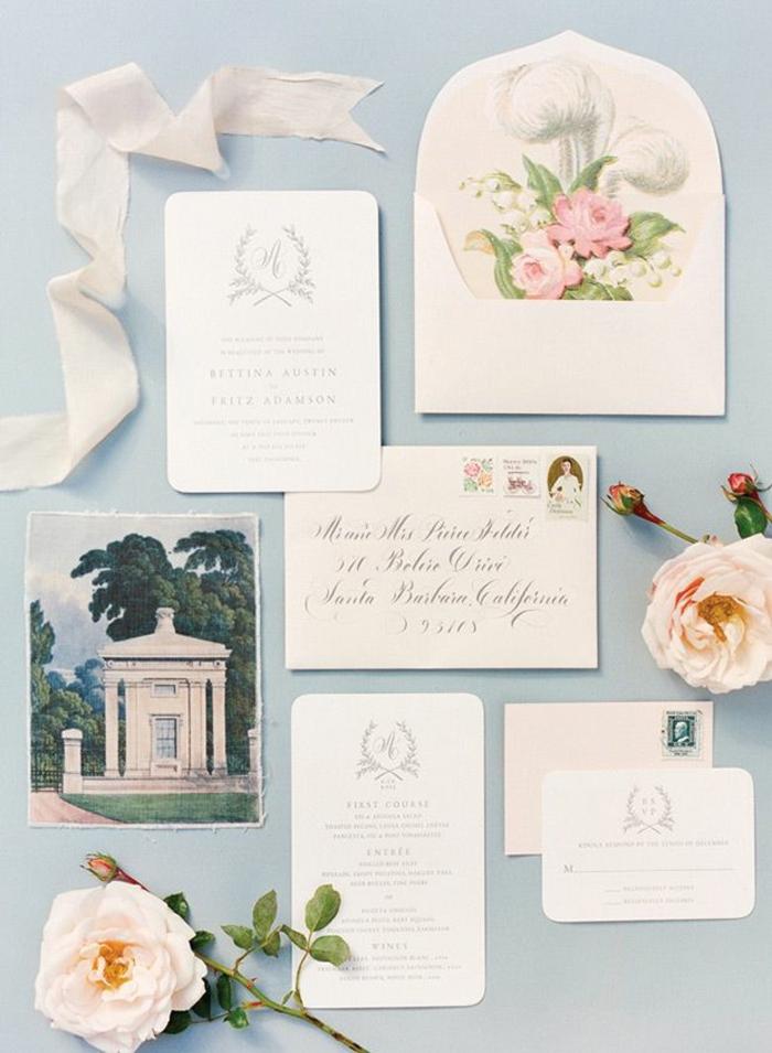 Quel faire part mariage champêtre chateau carton d invitation roses