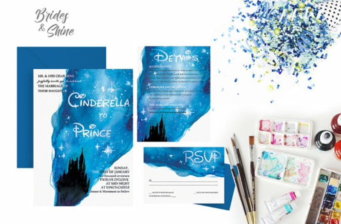 Excellent faire part mariage champetre chic faire part disney cool Cendrillon et chateau de disney